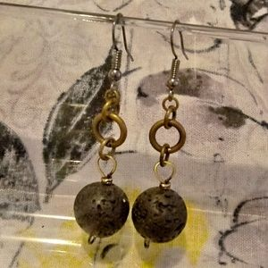❤5 For $25❤Ladies Natural Lava Bead Dangle Earring